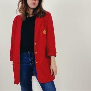 Lauren Ralph Lauren Red Sweater Crest Blazer